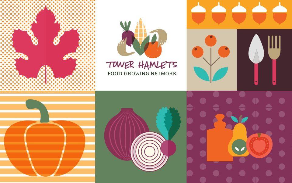 Tower Hamlets Food Growing logo design s
